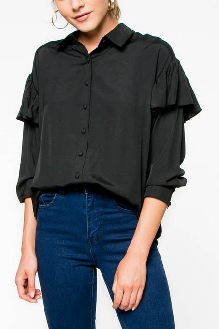 Sheen Bomber Jacket with Shoulder Ruffles