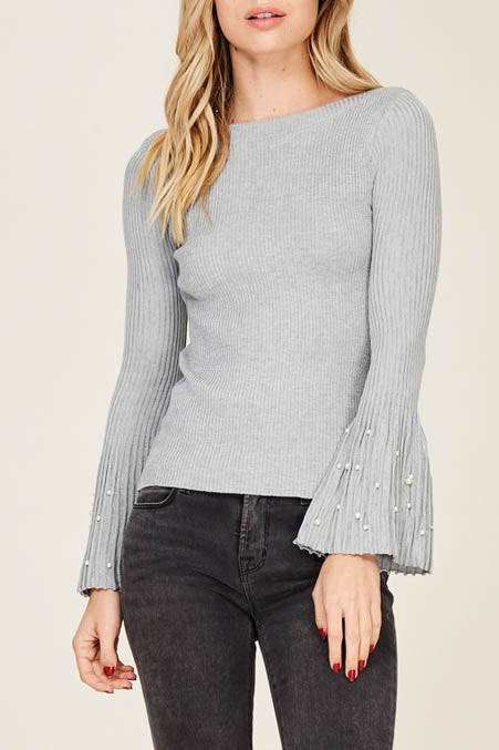Bell Sleeve Faux Pearl Sweater