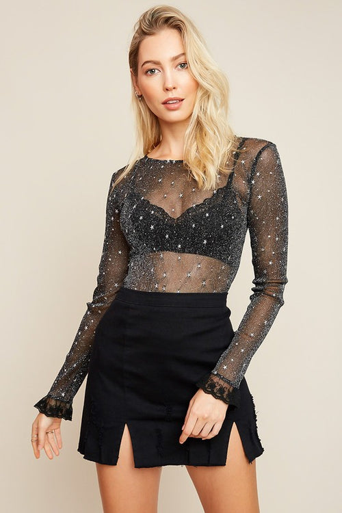 Long Sleeve Mesh Top with Star Detail