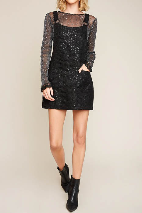 Sequined Knit Overall Dress