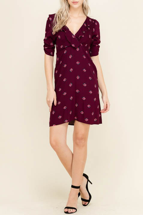 Floral Print Dress with Ruffled V-Neck
