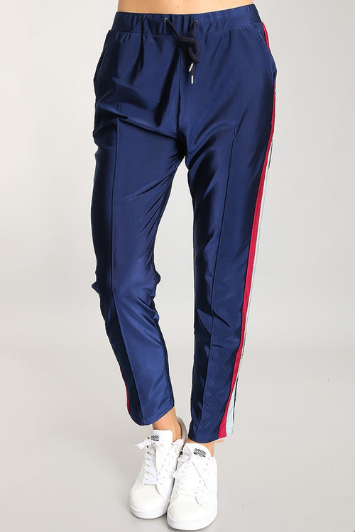 Navy Trousers with Side Stripes