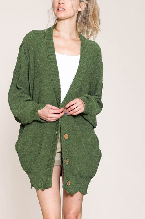 Oversized Knit Cardigan Sweater in Olive