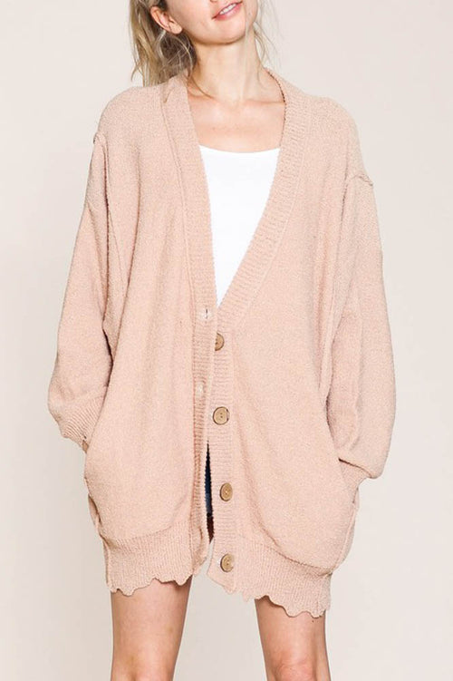 Oversized Knit Cardigan Sweater in Blush
