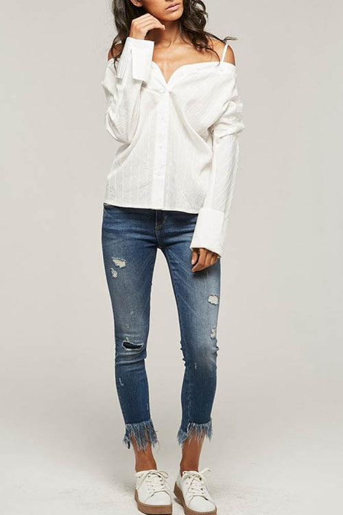 White Off Shoulder Basic Shirt