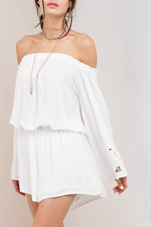 Embroidered Sleeve Romper in White
