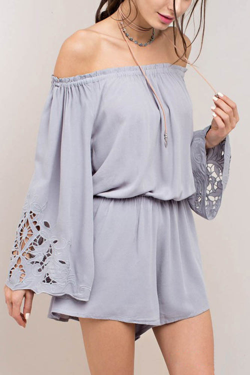 Embroidered Sleeve Romper in Lavender
