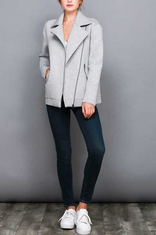 Grey Asymmetrical Zipper Jacket