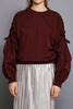 Burgundy Balloon Sleeve Sweatshirts - A CONCEPT