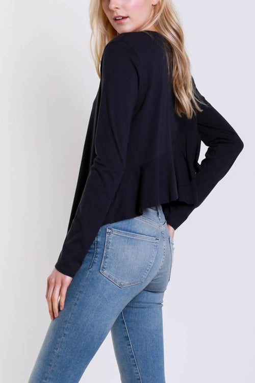 Layered Frill Top in Black