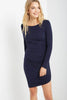 Long Sleeve One Side Ruched Dress in Navy - A CONCEPT