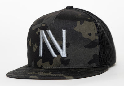 Black Camo With Silver NV Mesh SnapBack Hat - Threads of eNVy
