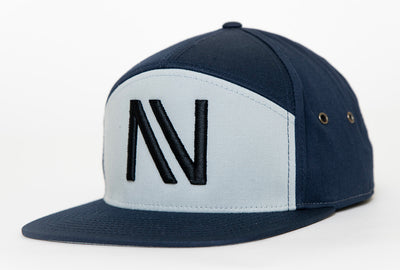 Blue/Grey Twill NV 7 Panel StrapBack Hat - Threads of eNVy
