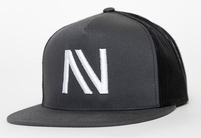 Charcoal With White NV Mesh SnapBack Hat - Threads of eNVy