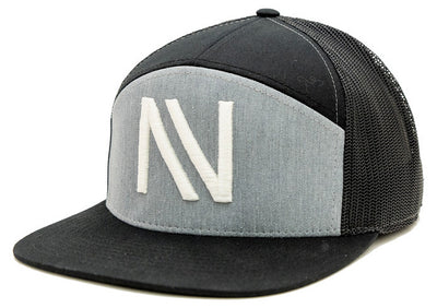 Grey/Black NV 7 Panel SnapBack Hat - Threads of eNVy