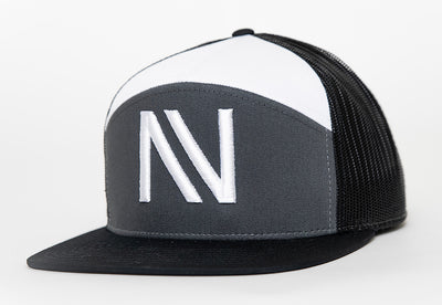 Grey/Black/White NV 7 Panel SnapBack Hat - Threads of eNVy