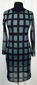 Sheer Black & Grey criss-cross dress