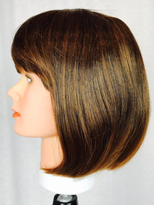 Brown straight bob with bangs