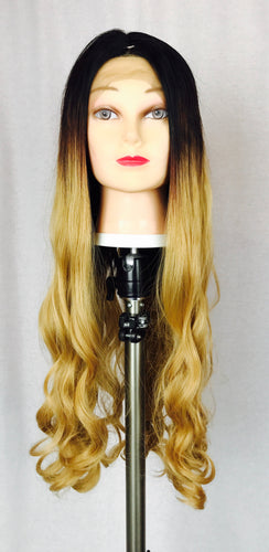 Ombré , Black and light brown, long curl, lace-front