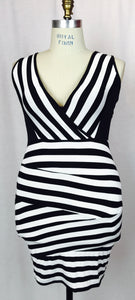 Striped B & W, sleeveless dress