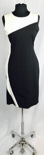 Sleeveless side curve dress, black & cream