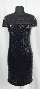 Full sequin, shear shoulders and cap sleeves