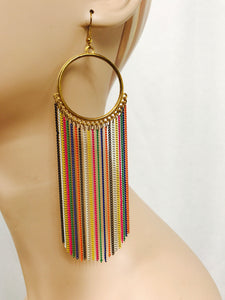 Rainbow Tassle earrings