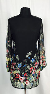 Bed of flowers, long chiffon sleeves