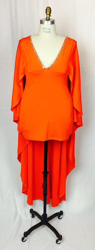 Cocktail dress with attached full length cape