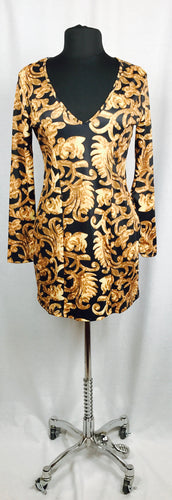 Versace style leaf print, long sleeve