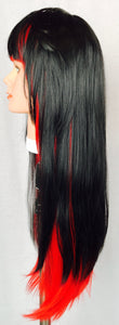 Two-tone, black and red, layered, bangs