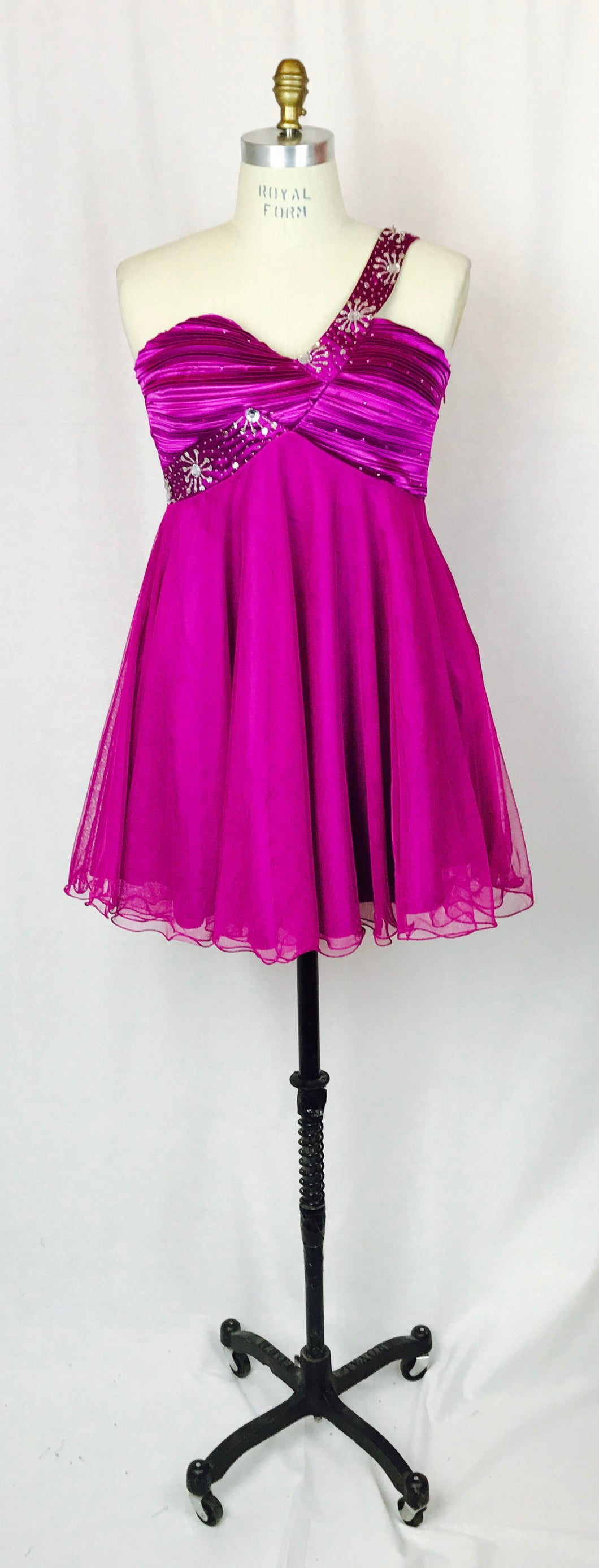 Fuchsia party dress, single shoulder, elastic backing.