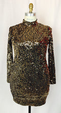 Sequin, long sleeve, open back, high collar