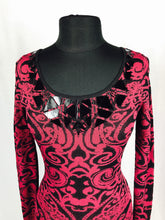 Fitted red and black Versace print, long sleeve
