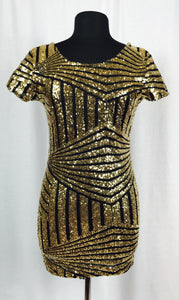 Sexy & short gold & black sequin dress