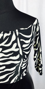 Off shoulder Zebra print, faux leather skirt