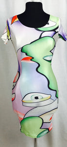 Abstract face print, multi colour bodycon