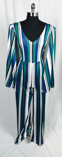 Vertical stripe pantsuit with cape, Blue/Green