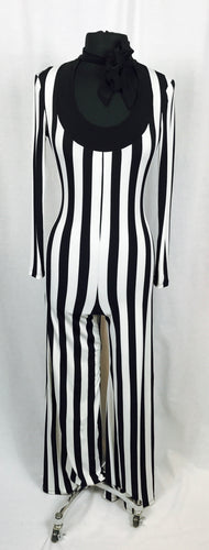 Vertical black & white stripe pantsuit
