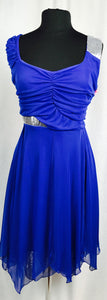 Royal blue, silver sequin feature