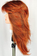 Auburn, layered, feather, with bangs