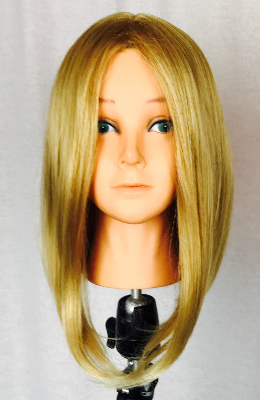 Blonde long bob, low-hi cut