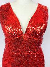 Red Sequin gown with train, lace-up back