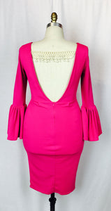 Pretty in Pink, flared cuffs, open back, pearl feature