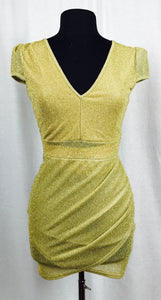 LGD - Little gold dress, cap sleeves