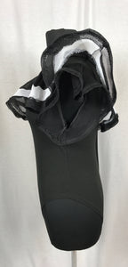 Ruffle left shoulder, black and white body suit