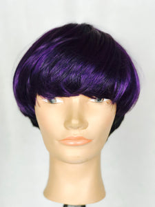 Purple and Black, layered, Bob