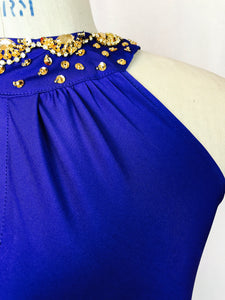 Royal Blu, halter, open back, jewels