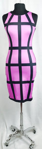 Cage print, fuchsia and black, sleeveless