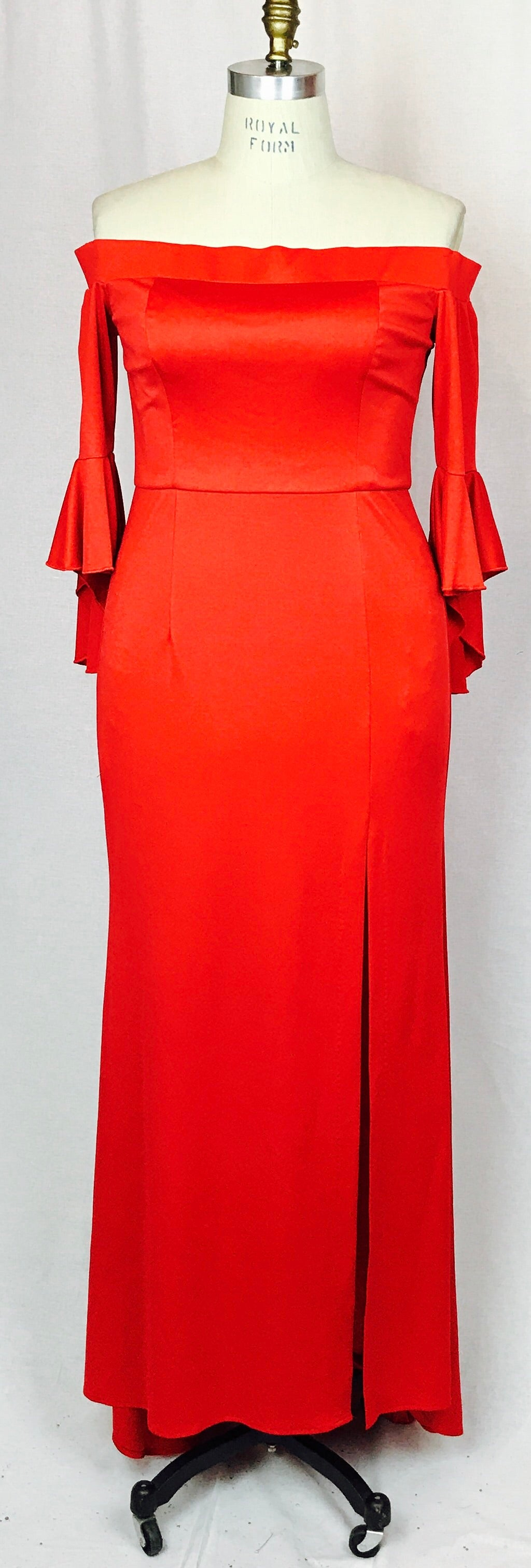Off shoulder red, 1/2 flared sleeve gown